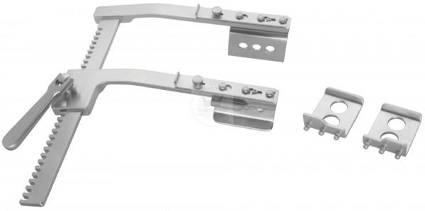 Rippenspreizer BURFORD, inklusive gelochter Seitenvalven, schräg, mit 2 Spitzen