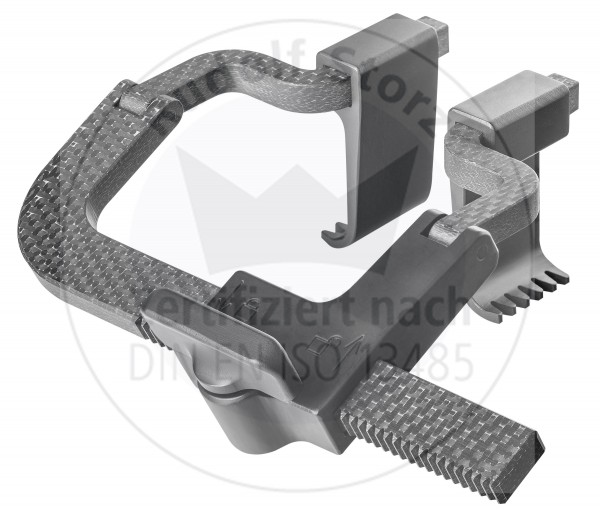 Carbon/PEEK Retraktor Rahmen, max. Spreizweite 85 mm, knickbare Arme