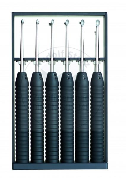 Set mit 6 Cobb Elevatoren im Sterilisiergestell, Ø Griff 28 mm